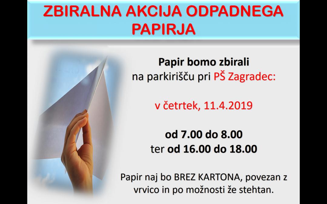 Zbiralna akcija starega papirja – 11. 4. 2019